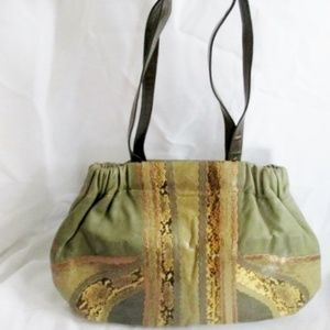 CARLOS FALCHI Leather Snakeskin Hobo Shoulder Bag